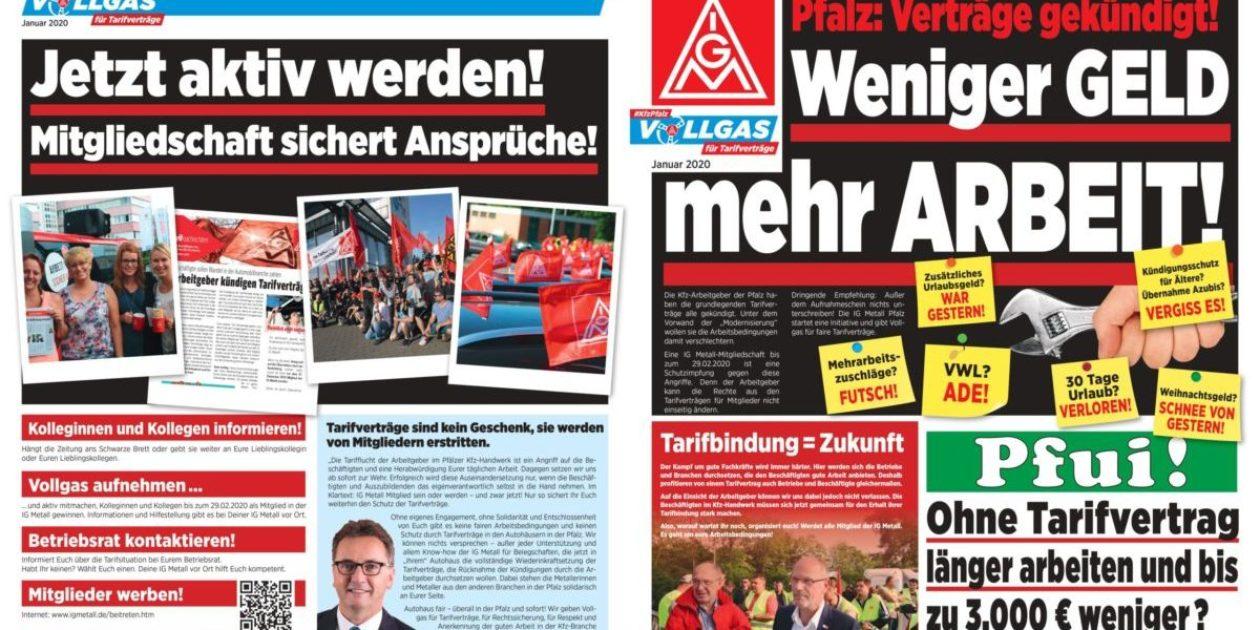 Mehr Arbeit – weniger Geld! Aktionszeitung Januar 2020: Vollgas Kfz Pfalz